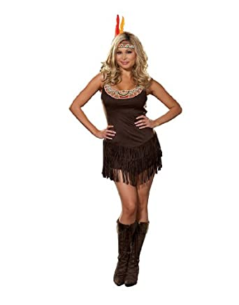 Dreamgirl Women's Native Indian Princess Costume available in PLUS, Multi, 1X/2X