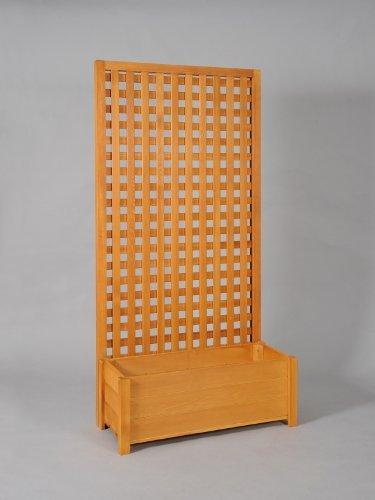 プランター付き・特注ラティスフェンス匠(目隠し)・縦横格子・パイン色・木製(高さ+横幅=合計300cm以内)(プランターボックス)
