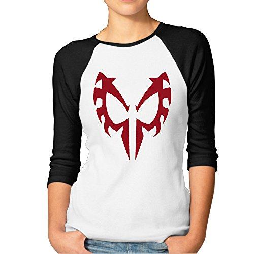 DDTD Red Spider Logo Women's Athletic Raglan T Shirt Black XL (New Slipknot Masks For Sale)