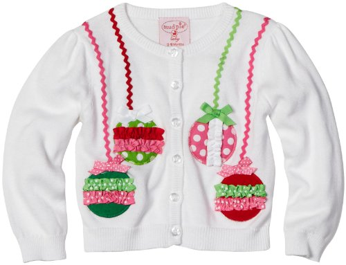 Mud Pie Baby-Girls Infant Ornament Cardigan, White, 12-18 Months front-545789