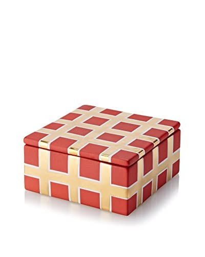 Waylande Gregory Grid Small Square Box, Red/Gold
