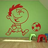 Kids Football Wall Art Decal 19 01 - Vinyl Sticker Wall Art Deco Decal - 50cm Height,50cm Width - Black Vinyl