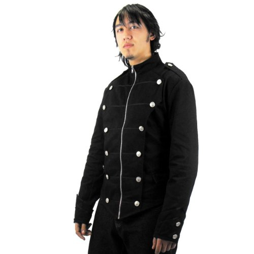Odin Mens Black Military Jacket - Large