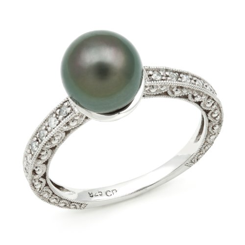 Diamond and Lace Sterling Silver Ring Band with 8-9mm 3/4 Cut Tahitian Black Pearl