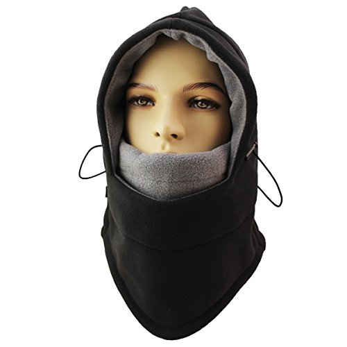 Miracu Heavyweight Balaclava Windproof Ski Face Mask, Women and Men Soft Fleece Winter Hat/Hood for Outdoor Sports, One-Size, Black (Hood And Mask compare prices)