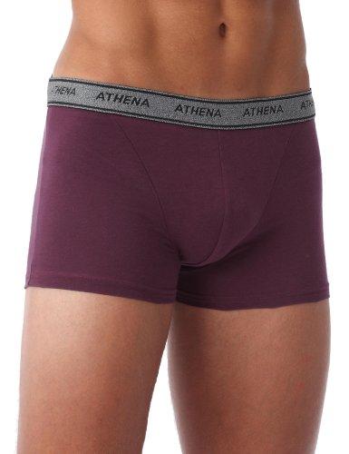 Athena Ligne basic coton - Boxer Uni - Lot de 4 - Homme - Noir / Gris Chiné / Prune / Perle - XL