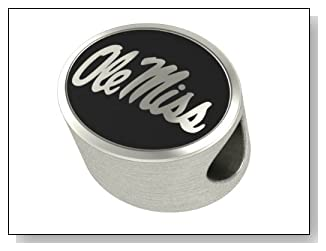 Ole Miss Rebels Bead Fits Most Pandora Style Bracelets Including Pandora Chamilia Biagi Zable Troll and More. High Quality Bead in Stock for Immediate Shipping