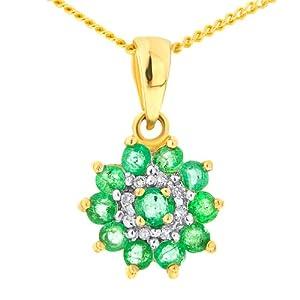 Pendentif - Femme - Or jaune (9 cts) 1.14 Gr - Emeraude - Diamant