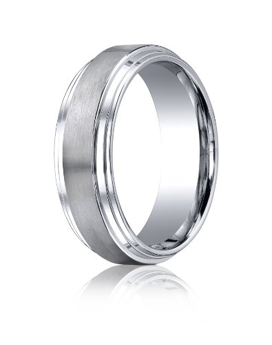 Cobalt Chrome, 8mm Comfort-Fit Satin-Finished Double Edge Design Ring (sz 6.5)