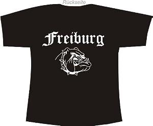 Freiburg (mit Bulldogge); Städte Polo T-Shirt schwarz