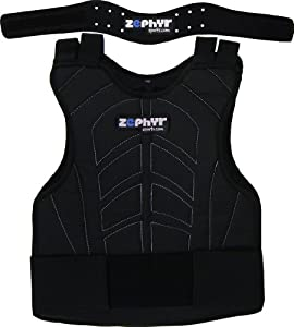 Zephyr Sports Padded Chest Protector w  Neck Protector Safety Combo - Black by Maddog Sports