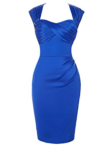 Blue Satin Hips-Wrapped Retro Vintage Party Dresses Size 14