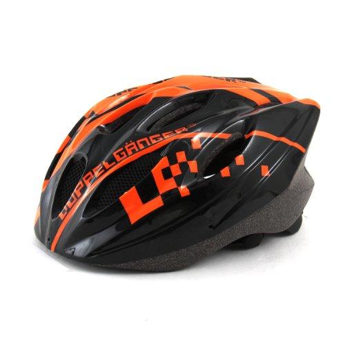 DOPPELGANGER(ドッペルギャンガー) ヘルメット DH001 ブラック/オレンジ 自転車用 S-L 54~59cm 専用バイザー付属 軽量250g [サイズアジャスター付き]