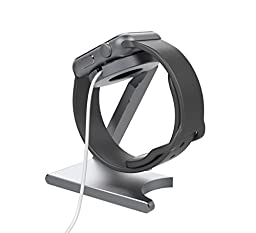 ELECLOVER Foldable Aluminum Apple Watch Charging Stand Cradle, Aluminum Alloy Holder, Gray