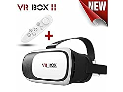 CEDO VR Box 2nd Generation Enhanced Version Virtual Augmented Reality Cardboard 3D Video Glasses Headset with Smart Bluetooth Wireless Remote Control / Mini Gamepad / Selfie Shutter for 3.5~6 Inch Screen Phones iphone 4S, iphone 5s, IPhone 6 / 6 S , Samsung LG, Nokia Sony HTC, Nexus Oneplus Moto etc - Inspired by Google Cardboard, Oculus Rift and Samsung Gear