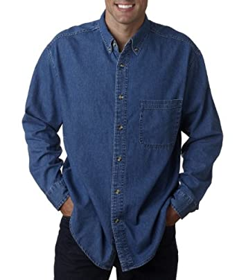 UltraClub Tall Mens Cypress Long-Sleeve Denim Shirt with Pocket. 8960T by UltraClub