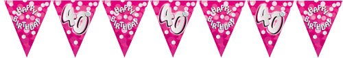 40th Birthday Pink Foil Bunting Rm400211 By Riethmüller