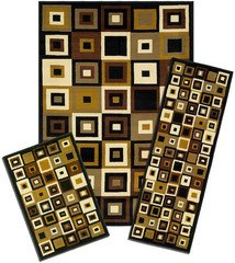 Capri Collection 3-Piece Area Rug Set: Area Rug with Matching Runner and Mat- Southwest Tiles