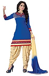 Justkartit Women's Unstitched Blue & Cream Colour Simple & Sober Punjabi Style Patiala Salwar Kameez / Latest Patiala Salwar Suit For Women / Work Wear Patiala Suit ( Diwali 2016 Collection)