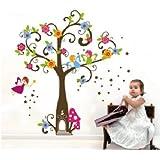 LUCKKYY®Nursery Cartoon Elf Girl Bent Trees Wall Art Stickers Decal For Nursery Home Decor Boys And Girls Children...