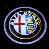 【 アルファロメオ Alfa Romeo  】 #98A  フルカラー LED レーザーロゴライト (ウェルカムライト) ドアランプ 2個セット★マーベリック  アンダースポット / ドアレーザー / カテーシ ★ブルーLED内蔵/両面テープ取付 (最薄16mm仕様)
