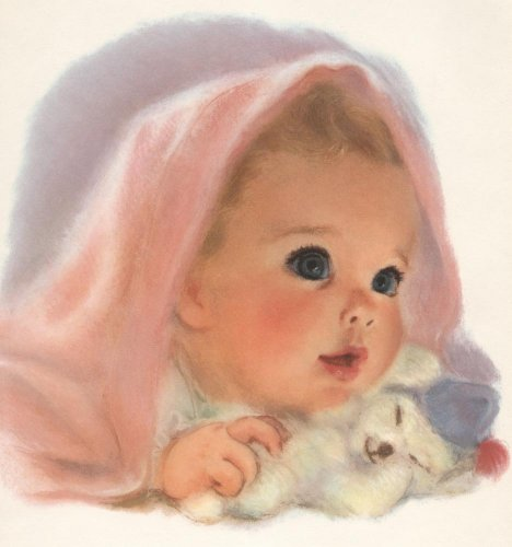 Baby Girl With Pink Blanket And Toy Wall Mural - 42 Inches H X 39 Inches W - Peel And Stick Removable Graphic front-807623