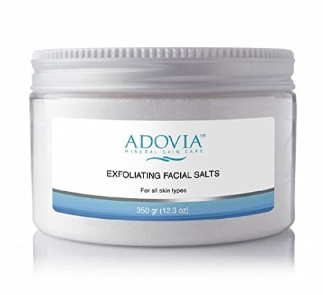 Adovia Exfoliating Facial Sea Salts - At Home Microdermabrasion Crystals - Dead Sea Salt Exfoliating Crystals for Acne, Oily Skin and Blackheads - Finely Ground Facial Sea Salt for Face Exfoliation - Remove Dead Skin Cells and Reveal a Radiant, Clear Layer of Skin - Mix with Cleanser, Soap, Masks or for At Home Microdermabrasion with Dead Sea Salts