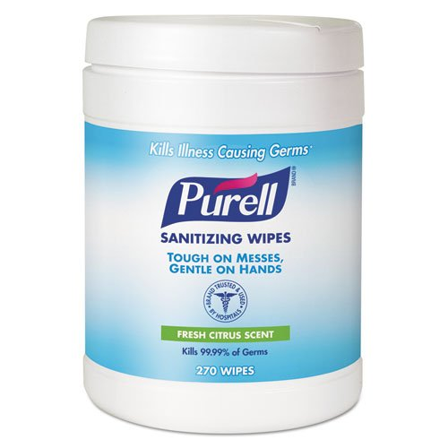 """Purell - Sanitizing Hand Wipes, 6 X 6 3/4"""", White, 270 Wipes/Canister 9113-06Ea (Dmi Ea front-807730"""