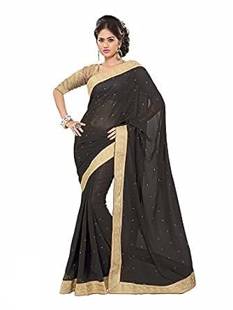 Amazon.com: Black Pakistani Party Wear Saree Zari Stone Work Ethnic