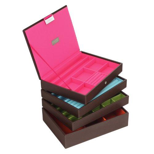 Stackers Jewellery Box | Classic Chocolate Brown & Bright Multi-Color Stacker Set Of 4