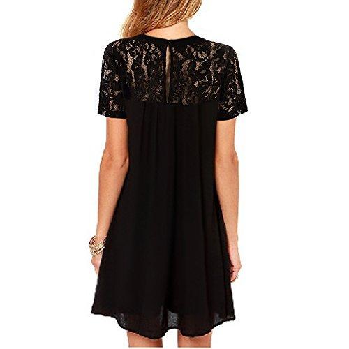 Vanberfia Women's Lace Short Sleeve Loose Casual Chiffon Dress (XL, 7880)