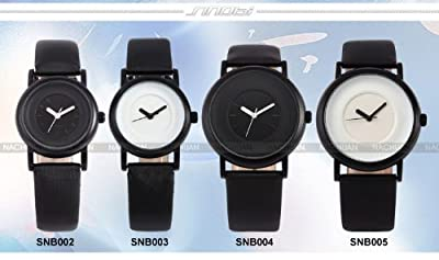 SINOBI New Fashion Round Mens Women Unisex Black Leather Band Quartz Wrist Watch SNB004