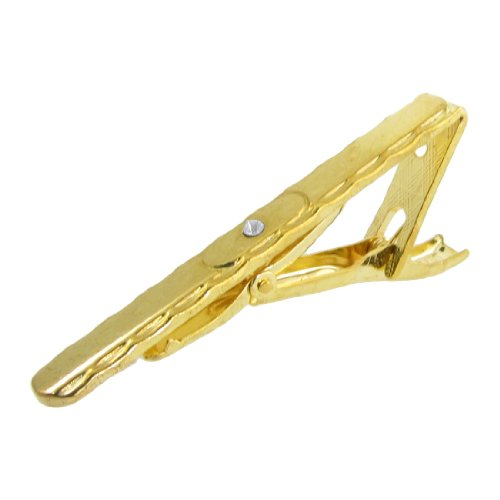 Rosallini Men Gold Tone Metal Spring Load Wavy Trim Tie Clip Necktie Clasp
