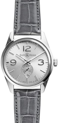Bell and Ross Vintage Officer Silver Dial Black Leather Mens Watch BRG123-WH-ST-SCR