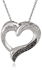 Sterling Silver Black Diamond Heart Pendant Necklace (1/10 cttw), 18