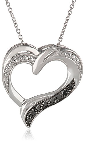 "Sterling Silver Black Diamond Heart Pendant Necklace (1/10 cttw), 18"""