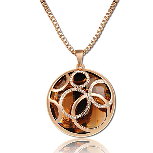 Christmas Gift Classic Rose Gold Plated Round Pendant Sweater Chain Necklace with Brown Austrian Crystals Jewelry - Environmental Friendly - Elegant