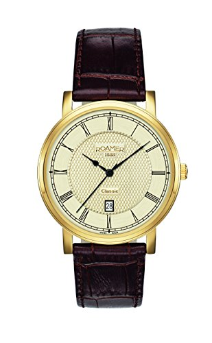 Roamer Classic Line Men's Quartz Watch with Gold Dial Analogue Display and Brown Leather Strap 709856 48 32 07
