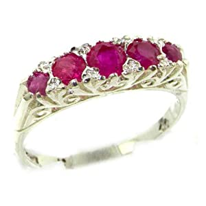 Luxury Solid Sterling Silver Natural Red Ruby Victorian Style Eternity Ring - Size W 1/2 - Finger Sizes K to Z Available - Ideal gift for for Christmas, Birthday, Valentines or Mothers Day