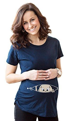Women's Caucasian Peeking Baby Maternity T-Shirt Cute Funny Pregnancy Tee M
