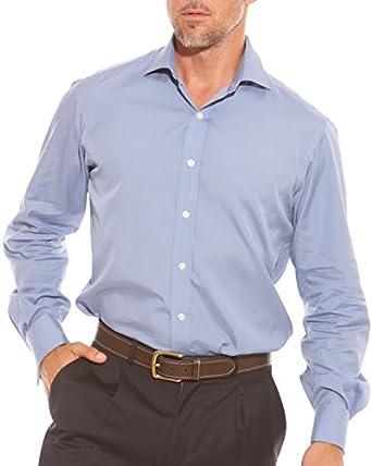 "Savile Row Mens Air Force Blue Fitted Poplin Dress Shirt Size 18"""