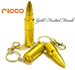 Ricco ® Aluminum Metal Bullet USB High Speed Flash Memory Key Pen Drive Disk Stick Waterproof and Shockproof (Ricco ® 01-017) (16GB Matt Gold)