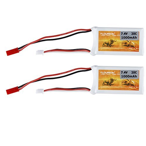 Floureon 2 Packs 7.4V 20C 1000mAh Lipo Li-Polymer RC Battery with JST Plug Connector for RC Airplane, RC Helicopter, RC Car/Truck, RC Boat RC Hobby (Rc Car Lipo Battery Pack compare prices)