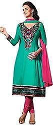 MANMAUJ Women's Cotton Unstitched Dress Material (Green)