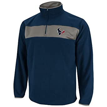 NFL Mens Houston Texans Fade Route III Trad Navy Storm Gray Long Sleeve 1 4 Zip Micro... by VF LSG