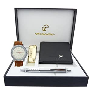 Montre Concept - Gift Box CBP - lighter - wallet - pen - men's Analog Watch - Camel Synthetic Strap / Bracelet - Round Dial Silver Color Background
