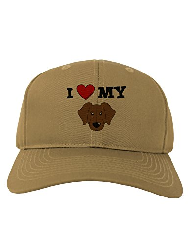 TooLoud I Heart My - Cute Chocolate Labrador Retriever Dog Adult Baseball Cap Hat - Khaki