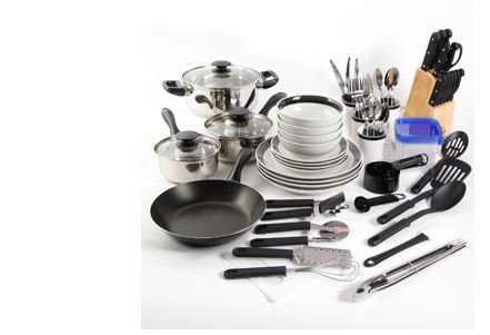 Essential Home Total Kitchen Cookware Utensil  Pc Combo Set