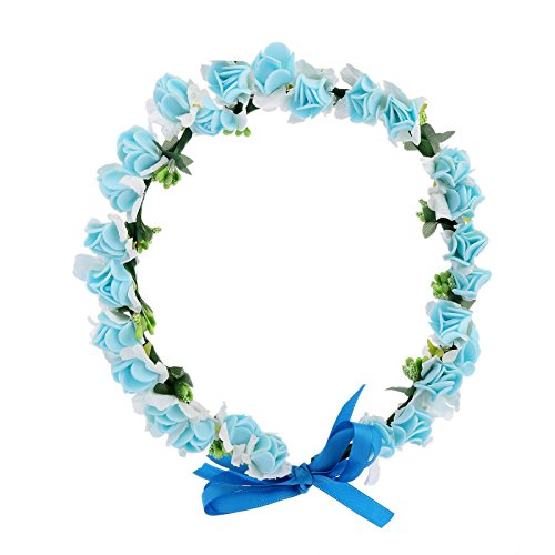 AWAYTR Flower Wreath Headband Floral Crown Garland Halo for Wedding Festivals (Light blue)