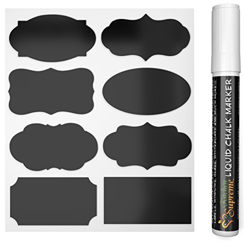 Chalkboard Labels Complete Bundle: 48 Premium Stickers for jars + White Chalk Marker |over 3200 outstanding seller feedback|